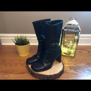 Aldo Black Faux-Leather Heeled Boot
